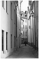 Narrow street of Gamla Stan. Stockholm, Sweden ( black and white)