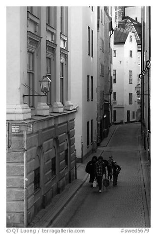 Narrow street of Gamla Stan. Stockholm, Sweden (black and white)