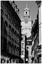 Street and church in Gamla Stan. Stockholm, Sweden ( black and white)