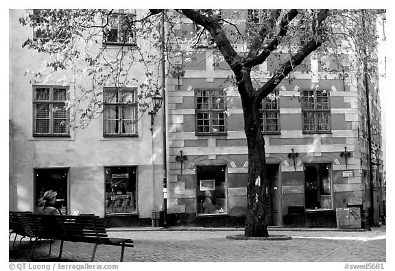 Small plaza in Gamla Stan. Stockholm, Sweden (black and white)