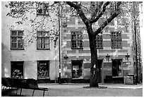 Small plaza in Gamla Stan. Stockholm, Sweden ( black and white)