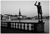 View of Gamla Stan with Riddarholmskyrkan from the Stadshuset. Stockholm, Sweden (black and white)