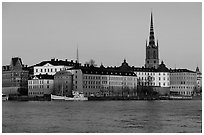 View of Gamla Stan with Riddarholmskyrkan. Stockholm, Sweden (black and white)