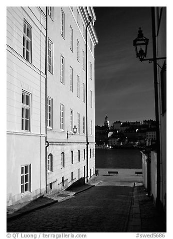 Looking out to the Malaren from Gamla Stan. Stockholm, Sweden (black and white)