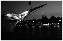 AF Chapman, a boat reconverted into a popular hostel. Stockholm, Sweden (black and white)