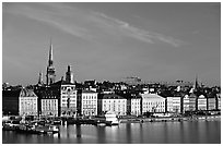 View of Gamla Stan across Salsjon. Stockholm, Sweden ( black and white)