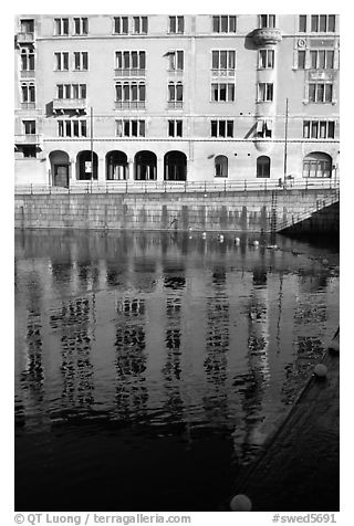 Reflections of buildings on Riddarfjarden. Stockholm, Sweden (black and white)