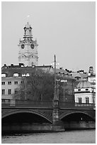 Bridge and church in Gamla Stan. Stockholm, Sweden ( black and white)