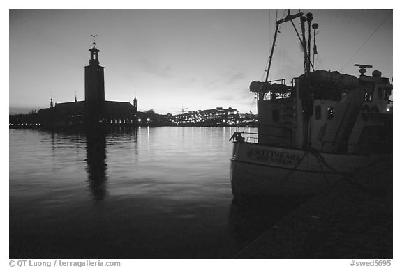 Fishing boat and Stadshuset. Stockholm, Sweden (black and white)