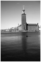 Stadshuset, used for Nobel receptions. Stockholm, Sweden (black and white)
