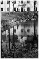 Building reflected in a lake, Skansen. Stockholm, Sweden ( black and white)