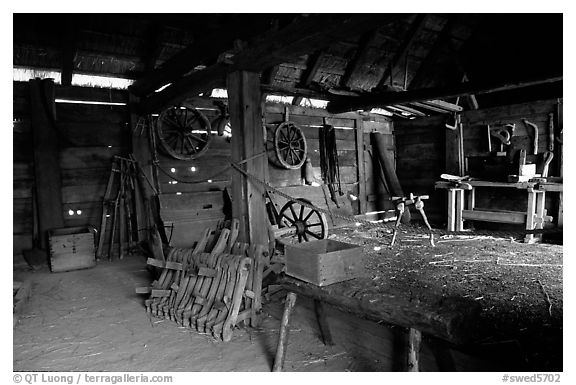 Barn, Skansen. Stockholm, Sweden (black and white)