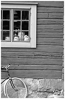 Bicycle and window. Stockholm, Sweden (black and white)