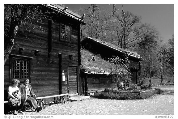 Traditional house with roof covered in grass, Skansen. Stockholm, Sweden (black and white)