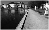 Basin and an alley in royal residence of Drottningholm. Sweden (black and white)
