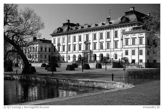 Park and Royal residence of Drottningholm. Sweden (black and white)
