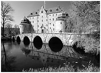 Orebro slott (castle) in Orebro. Central Sweden (black and white)