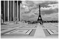 Eiffel tower seen from the marble surface of Parvis de Chaillot. Paris, France ( black and white)