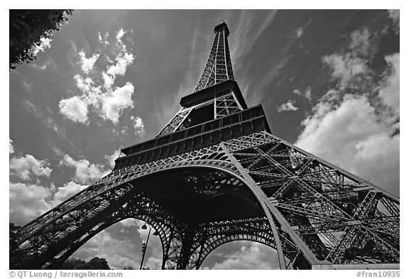 Wide view of Eiffel tower from its base. Paris, France (black and white)
