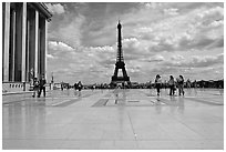 Parvis de Chaillot and Tour Eiffel. Paris, France (black and white)