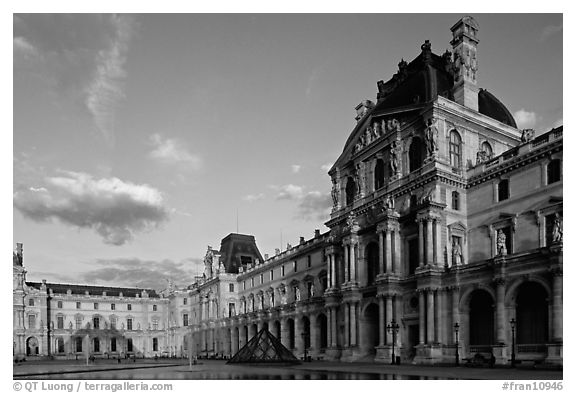 Denon Wing of the Louvre at sunset. Paris, France (black and white)