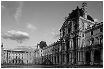 Denon Wing of the Louvre at sunset. Paris, France ( black and white)