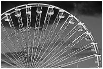 Detail of Ferris wheel at dusk, Tuileries. Paris, France ( black and white)