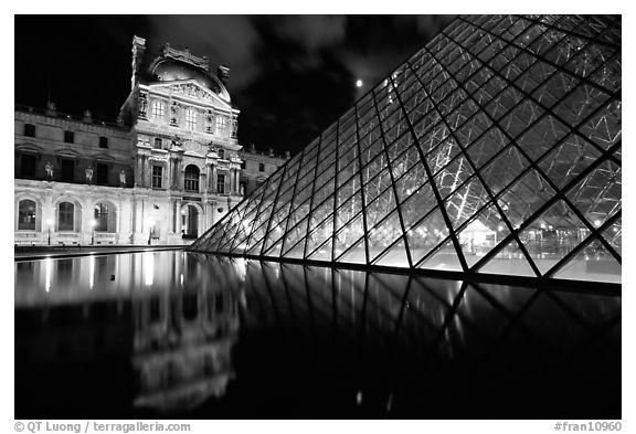 Louvre, Pei Pyramid and basin  at night. Paris, France (black and white)