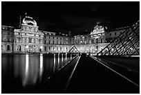 Louvre  at night. Paris, France (black and white)