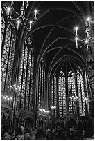 Upper Holy Chapel. Paris, France (black and white)
