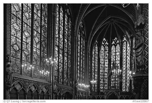 Sainte Chapelle haute covered with stained glass. Paris, France (black and white)