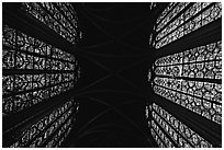 Stained glass and ceiling of Holy Chapel. Paris, France (black and white)