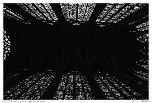 Ceiling and stained glass of Upper Holy Chapel. Paris, France (black and white)