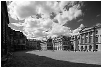 Entrance court of the Versailles Palace. France (black and white)