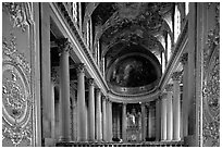 Second floor of the Versailles palace chapel. France ( black and white)