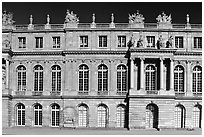 Frontal view of the Palais de Versailles, late afternoon. France ( black and white)