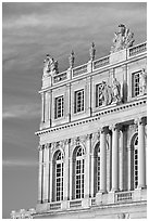 Detail of facade, late afternoon, Versailles palace. France (black and white)