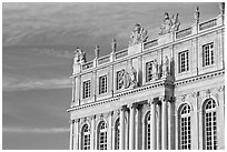 Detail of facade, late afternoon. France ( black and white)