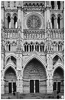 Frontal view  of Notre Dame Cathedral west facade, Amiens. France (black and white)