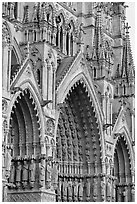 Side view of Cathedral facade, Amiens. France (black and white)
