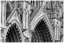 Detail of Cathedral facade, Amiens. France (black and white)