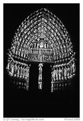 Door of Cathedral laser-illuminated to recreate original colors, Amiens. France (black and white)