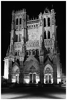 Notre Dame Cathedral at night, Amiens. France (black and white)