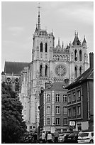 Houses and Cathedral, Amiens. France (black and white)