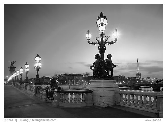 Lamps on Alexandre III bridge at sunset. Paris, France (black and white)
