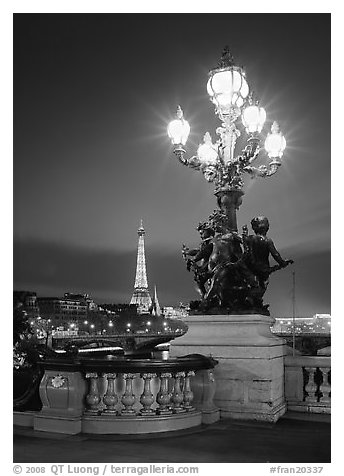 Lamps on Pont Alexandre III and Eiffel Tower at night. France (black and white)