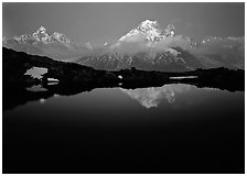 Aiguille Verte reflected in pond at dusk, Chamonix. France ( black and white)