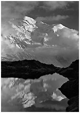 Mont Blanc and clouds reflected in pond, Chamonix. France ( black and white)