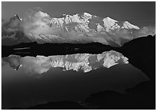 Mont Blanc reflected in pond at sunset, Chamonix. France ( black and white)