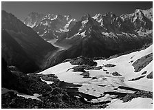Frozen Lac Blanc, and Mont-Blanc Range, morning, Chamonix. France (black and white)